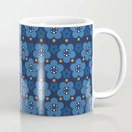Deep Blue Flowers and the touch of gold Coffee Mug