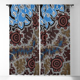 Water Lilly Dreaming - Authentic Aboriginal Art Blackout Curtain