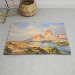 Red Sandstone Cliffs of the Upper Colorado River (Green River, Wyoming) landscape by Thomas Mann Rug