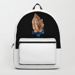 Hands Praying with Black background Backpack