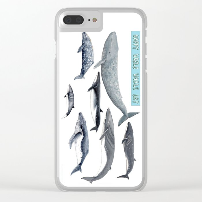 Happy world whale day Clear iPhone Case