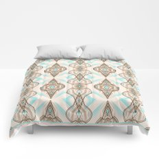 Art Deco . Turquoise brown white . Comforters