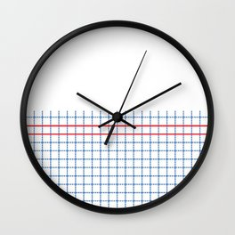 Dotted Grid Boarder Blue Red 2 Wall Clock