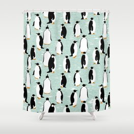 Penguins go with the floe Shower Curtain