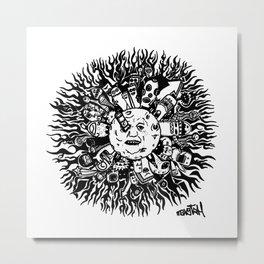 Monster mandala moon Metal Print