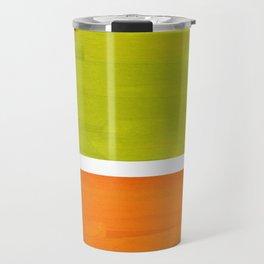 Retro Lime Green Minimalist Abstract Color Block Rothko Midcentury Modern Art Travel Mug