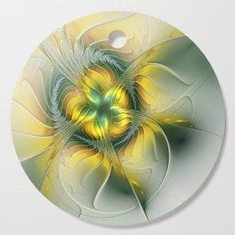 Golden Fantasy Flower, Fractal Art Cutting Board