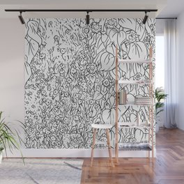 Great Prairie with Sunflowers in Black and White Wall Mural