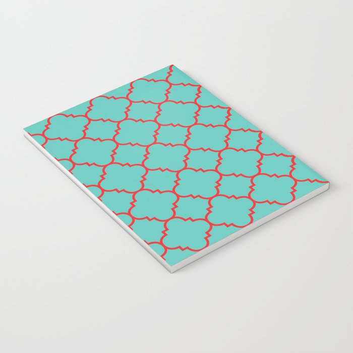 Quatrefoil - Turquoise & Red Notebook