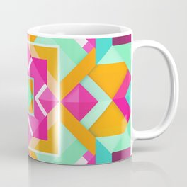 Geometric Tribal Mandala Inspired Modern Trendy Vibrant (Mint Green, Maroon, Wine, Hot Pink, Orange) Coffee Mug