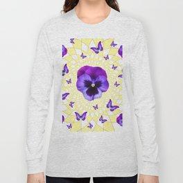 PURPLE BUTTERFLIES & PANSIES GEOMETRIC PATTERN Long Sleeve T-shirt