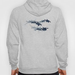 Orca in Motion / blue-gray ocean pattern Hoody