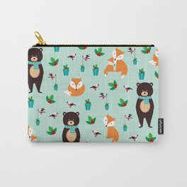 Christmas pattern with bears, foxes and birds #society6 #homedecor Carry-All Pouch