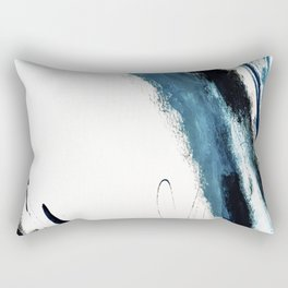 Reykjavik: a pretty and minimal mixed media piece in black, white, and blue Rectangular Pillow