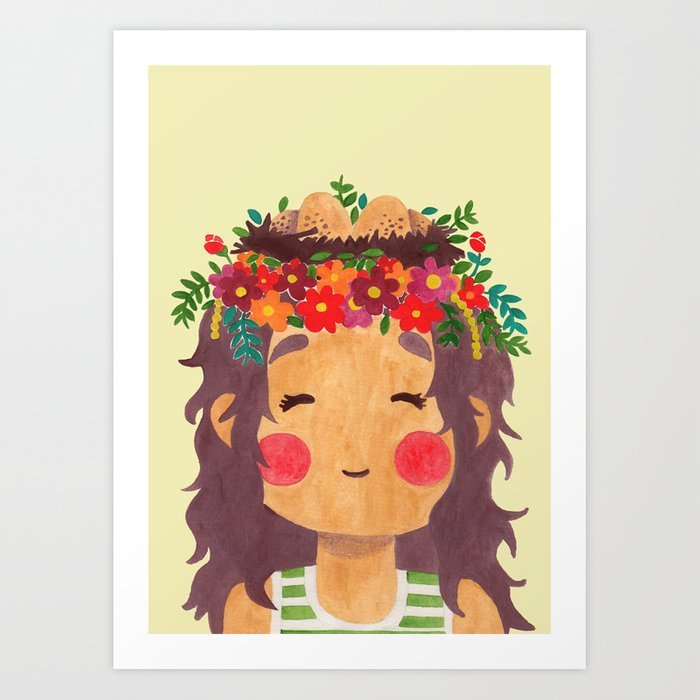 Bird Nest Girl in the Spring Season Art Print