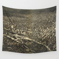 minneapolis Wall Tapestries featuring Vintage Pictorial Map of Minneapolis MN (1885) by BravuraMedia