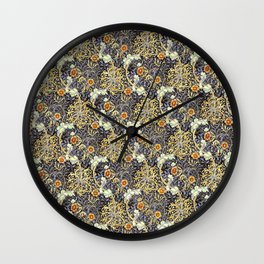 William Morris Variation Periwinkle Blue and Marigold Colors Wall Clock