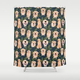 Golden Retrievers and Ferns on Navy Shower Curtain