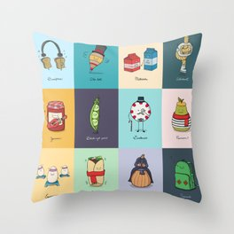 Punny Doodle Collection Throw Pillow