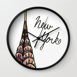 New York Fashion Illustration  Wall Clock