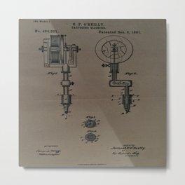 Tattoo Machine Schematic 1891 Metal Print