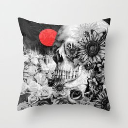 Fire in the dark, nature skull Throw Pillow
