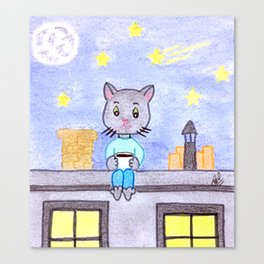 Coffe cat on a roof Canvas Print