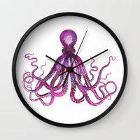 octopus Wall Clocks featuring Octopus by LebensART