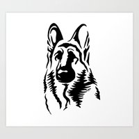 german shepherd Art Prints featuring German Shepherd by JonathanStephenHarris