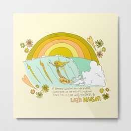 surf legend leah dawson sea love retro surf art by surfy birdy Metal Print