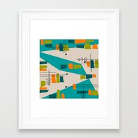 mid century modern Framed Art Prints featuring Mid-Century Modern Abstract by Kippygirl