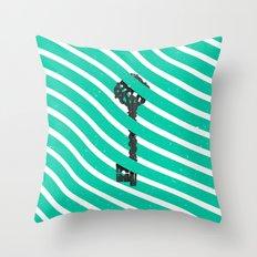 Teal White Zig Zag Stripes Pattern Black Wood Key Throw Pillow