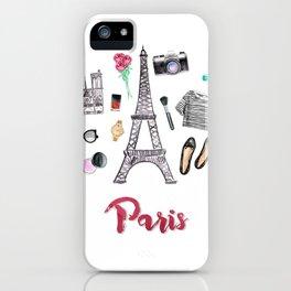 Watercolor Paris Fashion Items - Eiffel Tower iPhone Case