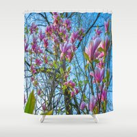 magnolia Shower Curtains featuring Magnolia by Ricarda Balistreri