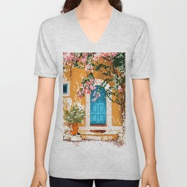 Oh The Places You Will Go, Summer Travel Spain Greece Painting, Architecture Building Bougainvillea Unisex V-Neck