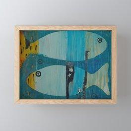 Who's looking? Blue version Framed Mini Art Print