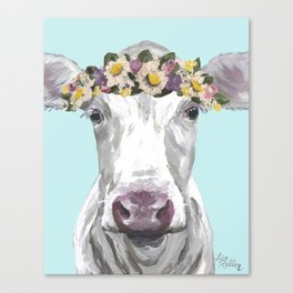 Cute Cow Up Close, Flower Crown Cow Canvas Print