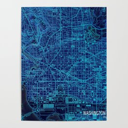 Washington West Columbia year 1945 old blue map Poster