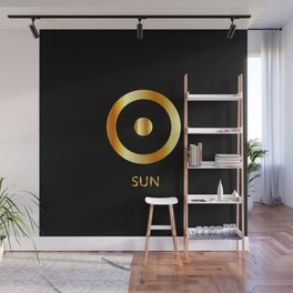 Zodiac and astrology symbol of the planet Sun in gold colors Wall Mural
