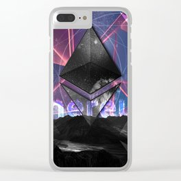 Ethereum Moon and Stars landscape Clear iPhone Case