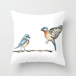 Bluebirds watercolour and ink Throw Pillow