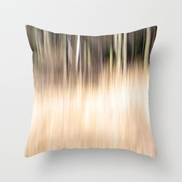 Abstract forest; intentionally blurred by camera shake Throw Pillow