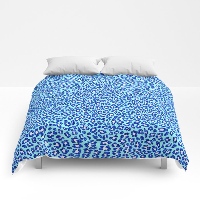 Light Blue Glitter Leopard Print Comforters