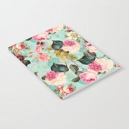 Vintage & Shabby Chic - Summer Teal Roses Flower Garden Notebook