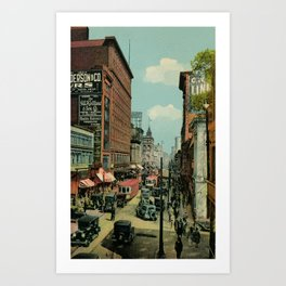 Montreal busy St. Catherine Street 1920s Art Print
