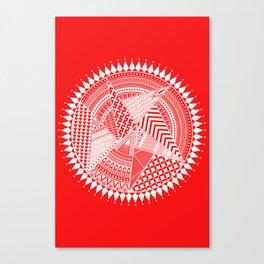 White & Red Mandala Art Canvas Print