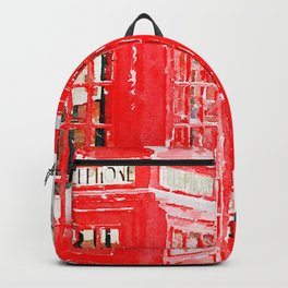 Colorful Red Telephone Booths in London Watercolor Painting Print Backpack