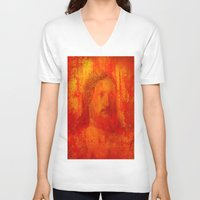 jesus V-neck T-shirts featuring Jesus by Ganech joe