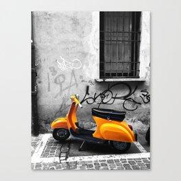 Orange Vespa in Bologna Black and White Photography Canvas Print