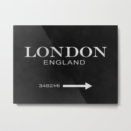 black watercolor London england Metal Print